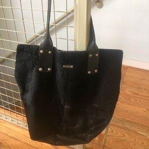 Black Cow Hide Pulicati Tote Bag Pink Lining